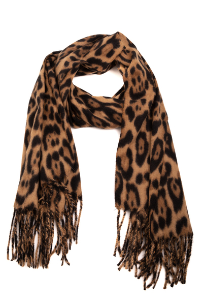 Winter Leopard Print Oblong Scarf
