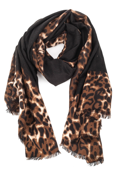 Two Tone Leopard Print Oblong Scarf