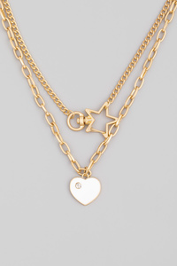 Layered Chain Link Heart Pendant Necklace