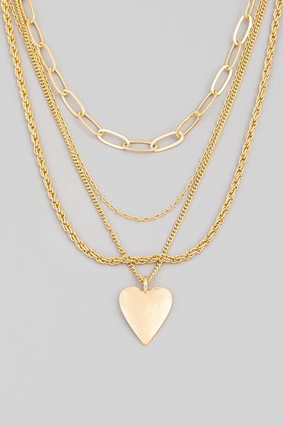 Dainty Chain Layered Heart Pendant Necklace
