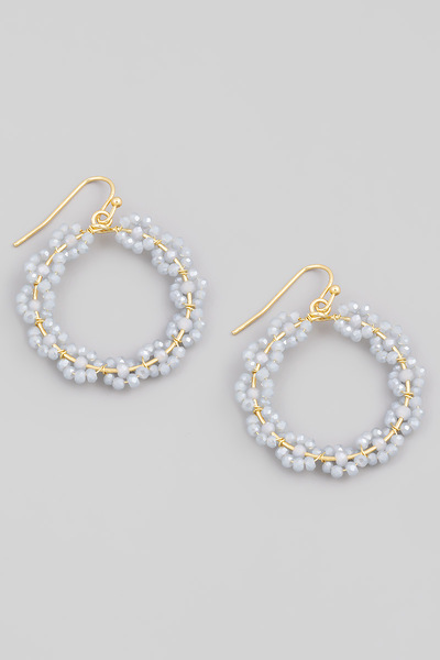 Floral Beaded Circle Drop Earrings