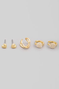Mini Assorted Heart Stud Earrings Set