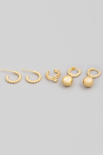 Mini Cuff Hoop Earrings Set