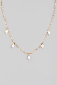 Dainty Pearl Bead Chain Necklace