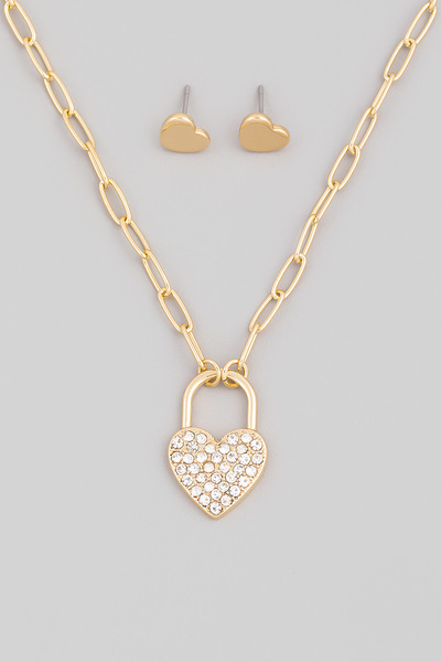 Pave Heart Lock Pendant Necklace Set