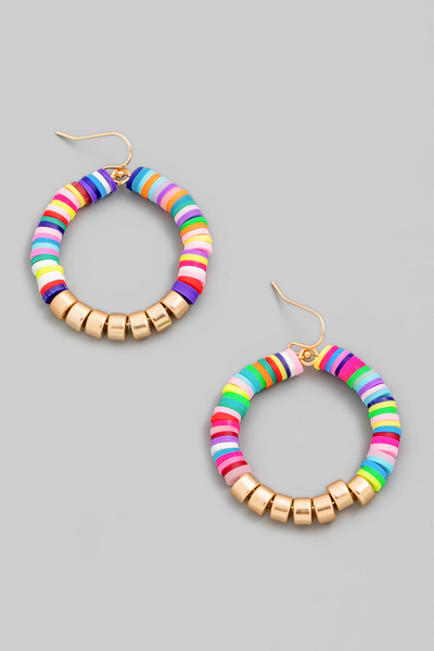 Circle Disc Bead Drop Earrings
