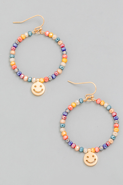 Beaded Smiley Face Circle Drop Earrings