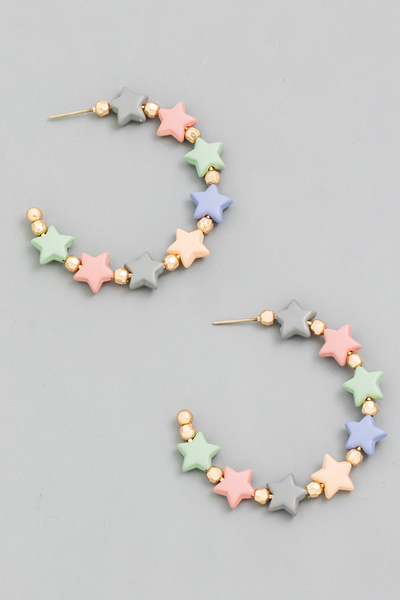 Star Bead Open Hoop Earrings