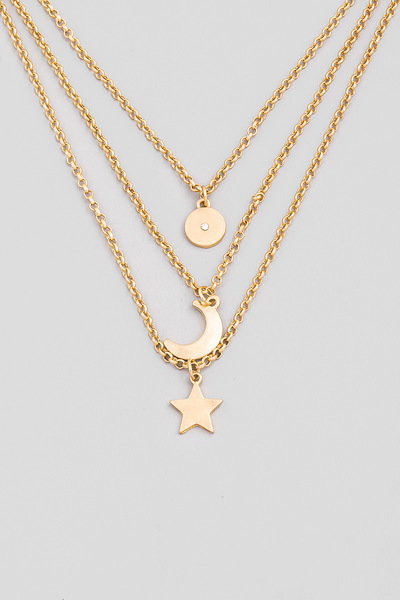 Dainty Layered Star Moon Charm Necklace