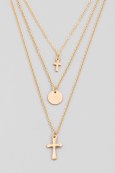 Dainty Layered Cross Pendant Necklace