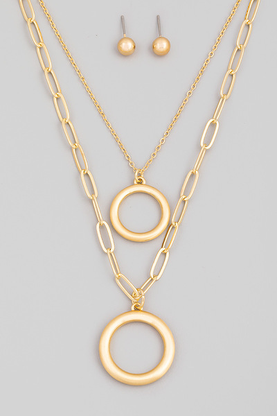 Chain Layered Circle Pendant Necklace Set