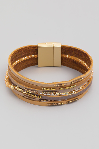 Faux Leather Strand Magnetic Bracelet