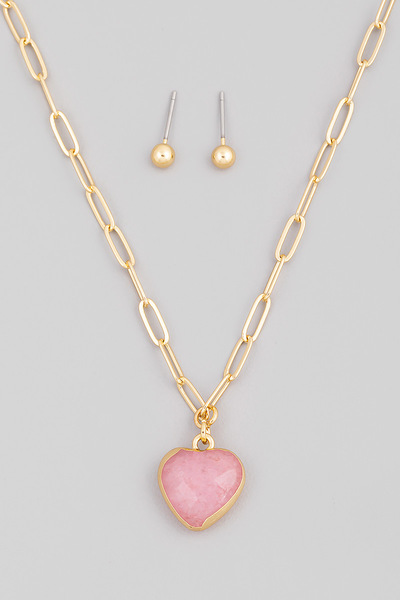 Semi Precious Heart Pendant Necklace Set