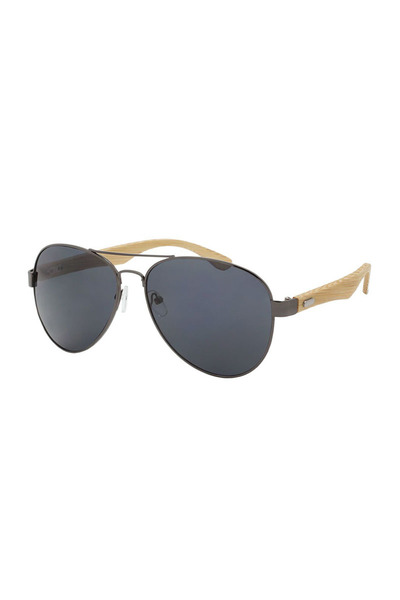 UNISEX AVIATOR BAMBOO TEMPLE SUNGLASSES
