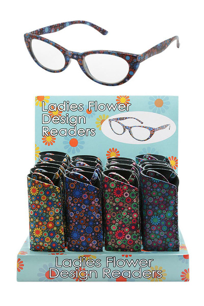 LADIES FLOWER PATTERNED READERS WITH 24 PCS DISPLAY