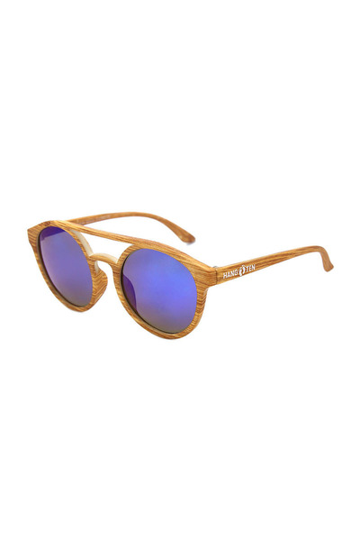 Hang Ten BAMBOO WOOD-GRAIN BLUE REVO POLARIZED KIDS SUNGLASSES