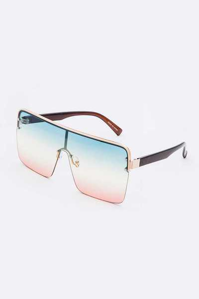 Shield Inspired Oversize Mix Tint Sunglasses