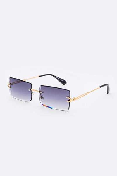 Rimless Mix Tint Rectangle Sunglasses Set