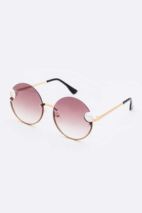 Pearl Accent Oversize Round Sunglasses