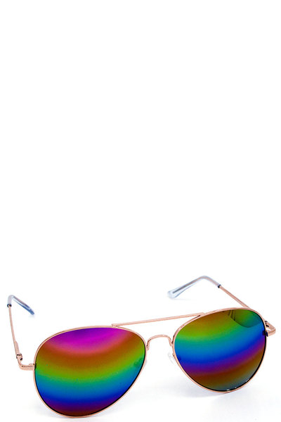 Chic Rainbow Lens Aviator Sunglasses