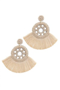 DOUBLE BEADED CIRCLE FAN TASSEL POST DROP EARRINGS