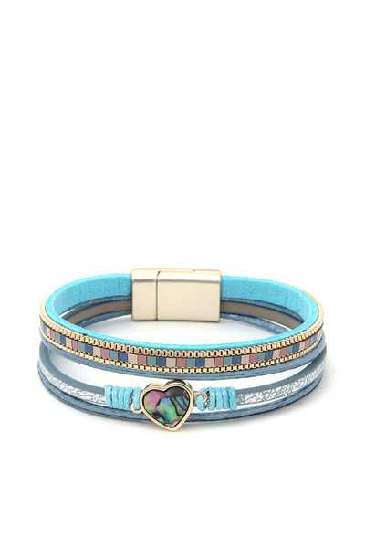 HEART CHARM COLOR BLOCK MAGNETIC BRACELET
