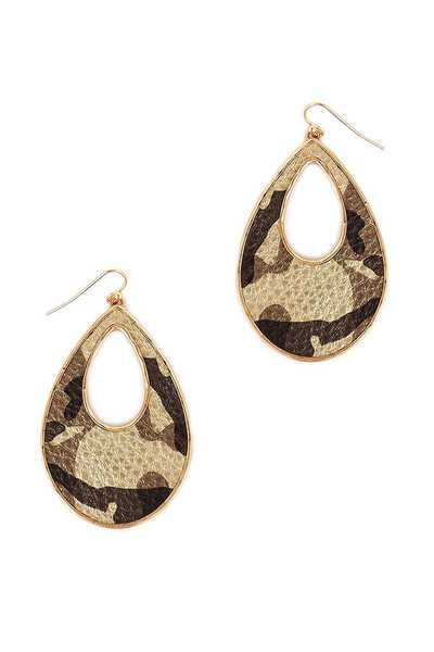 OPEN TEAR DROP CAMOUFLAGE EARRING