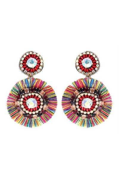 BEADED ROUND FRINGE POST DROP EARRING