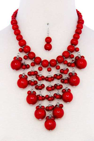 FASHION TRENDY PEARL CHUNKY NECKLACE AND EARRING SET