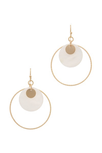MOTHER OF PEARL DOUBLE CIRCLE DROP EARRING