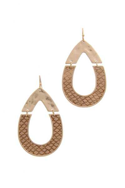 Half Metal Half Pu Leather Teardrop Earring
