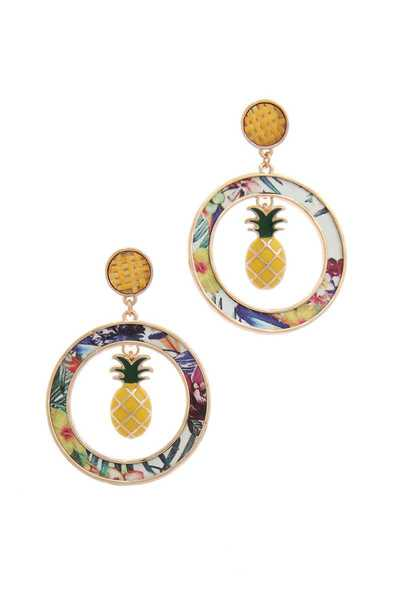 PINEAPPLE CHARM CIRCLE POST DROP EARRING