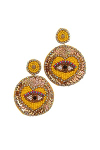 SEQUIN BEADED EYE POST DROP EARRING