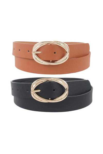 TWIST METAL BUCKLE BELT 2 PCS SET