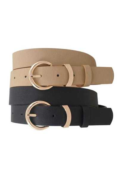 BLACK AND TAUPE FASHION BUCKLE BELT 2 PC SET