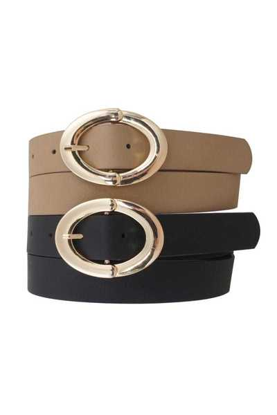 OVAL GOLDEN METALLIC FASHION BUCKLE BELT 2 PC SET