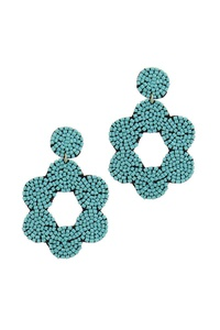 FLOWER SHAPE BEADED POST DROP EARRING