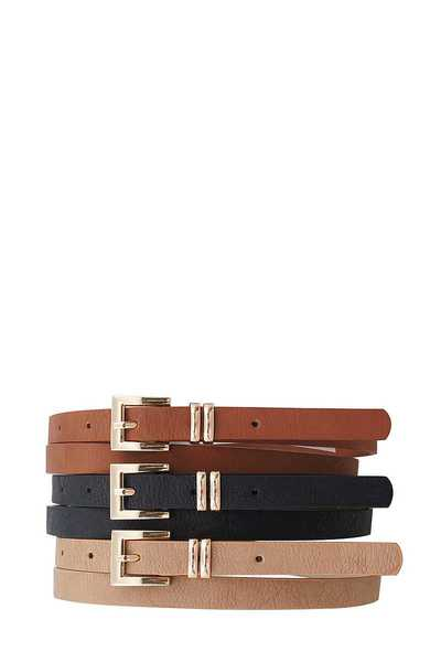3 PCS. STYLISH ANGLED BUCKLE SKINNY BELTS