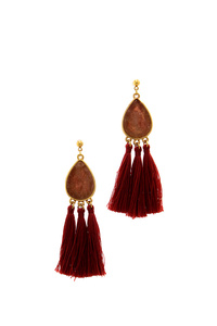 CHIC TRIPLE TASSEL DROP EARRING