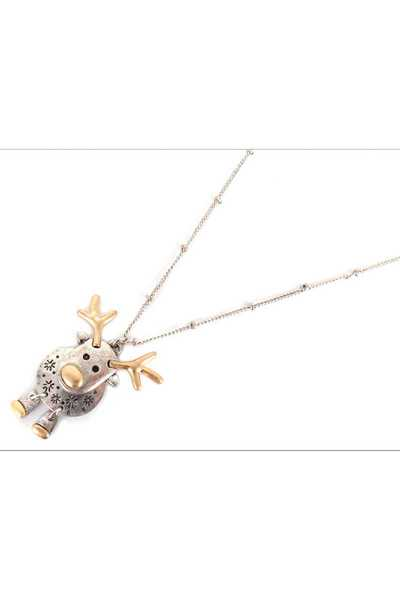 TWO TONE REINDEER NECKLACE