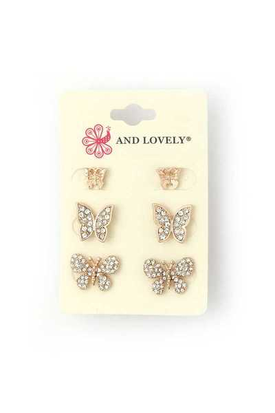 RHINESTONE BUTTERFLY EARRING SET