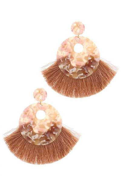 ACETATE DOUBLE CIRCLE TASSEL POST DROP EARRING