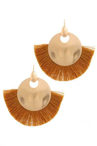METAL CIRCLE FAN TASSEL DROP EARRING