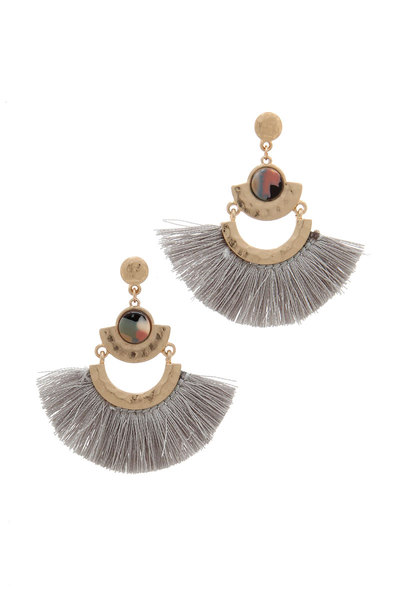 METAL FAN TASSEL POST DROP EARRING