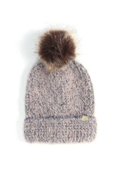 TWO TONE FAUX FUR POM POM BEANIE