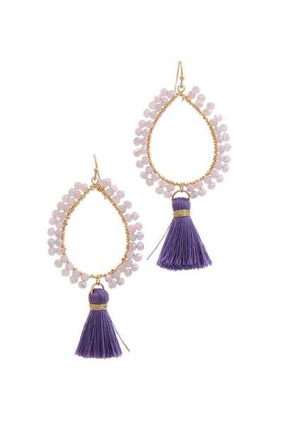 BEADED TEARDROP SHAPE TASSEL DROP EARRING