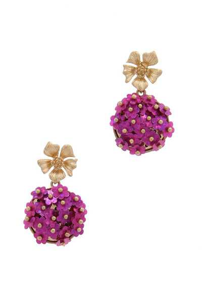 SEQUIN METAL BEAD FLORAL DROP EARRING