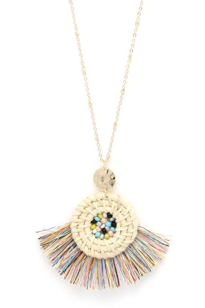 FAN TASSEL BEADED PENDANT NECKLACE