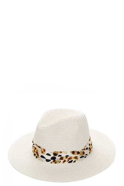 STYLISH STRAW FEDORA HAT WITH SILKY LINE ACCENT