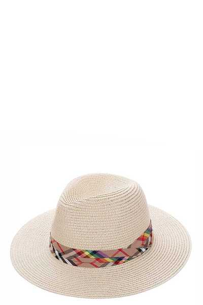 TRENDY CHECK ACCENT STRAW PANAMA HAT
